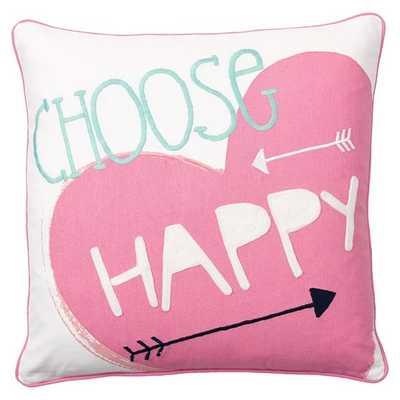 Coastal Inspiration Pillow Cover - Choose Happy, 18x18, No Insert - Pottery Barn Teen