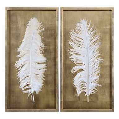 White Feathers, S/2 - 17 W X 34 H X 2 D - Framed (Gold) - Hudsonhill Foundry