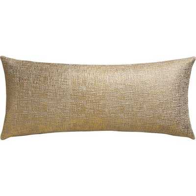 """Glitterati gold 36""""x16"""" pillow with feather-down insert - CB2"""