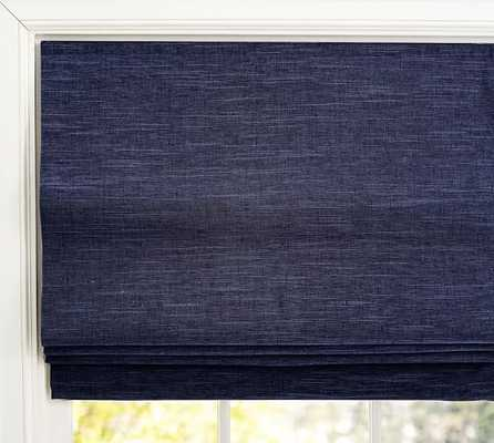 "Emery Linen/Cotton Cordless Roman Shade, 36 x 64"", Navy - Pottery Barn"