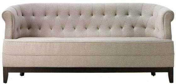 Emma Textured Natural Polyester Chenille Sofa - Home Depot