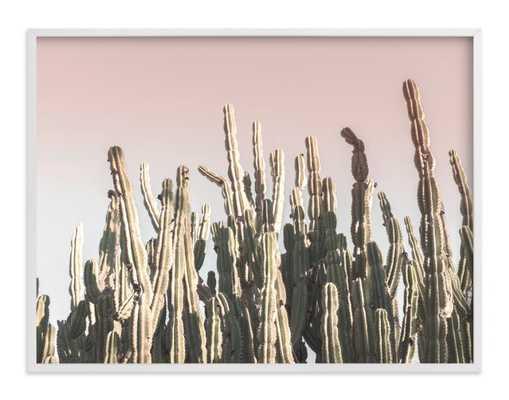 "Summer cactus Art Print - 40"" x 30"" - Whitewash herringbone without Mat - Minted"