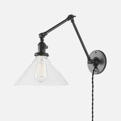 "Princeton Long Plug-In Sconce 2.25"" - Antique Black, Black Twisted Cord - Schoolhouse Electric"