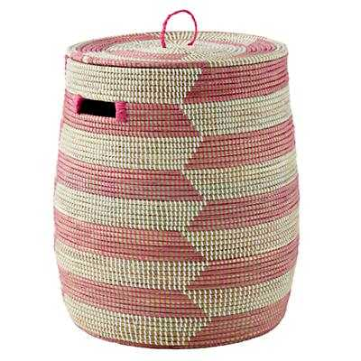 Pink Herringbone Woven Hamper (Pink Herringbon) - Land of Nod