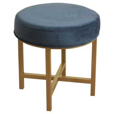 Circle Ottoman with Gold Metal X-Base - Midnight Blue - Target