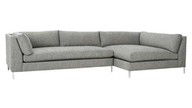 Decker 2-piece sectional sofa - lexi, salt and pepper - CB2