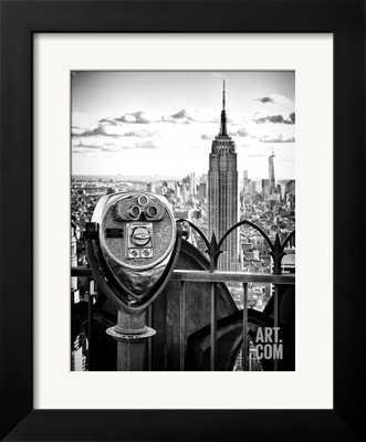 "TELESCOPE ON THE OBERVATOIRE DECK, TOP ON THE ROCK AT ROCKEFELLER CENTER, MANHATTAN, NEW YORK - 12""x16"" - gramercy frame - art.com"
