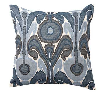 "Kenmare Ikat Embroidered Pillow Cover - Blue - 24""sq. - Insert not included - Pottery Barn"