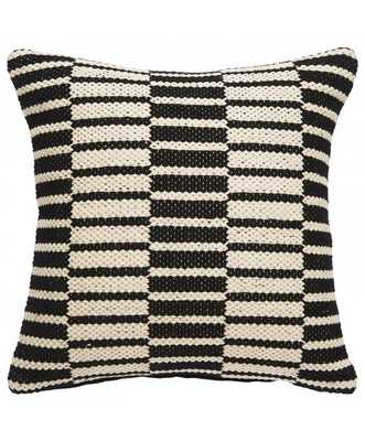 "Opposites Pillow - 20"" x 20"" - Polyester Filled-Black/White - Lulu and Georgia"