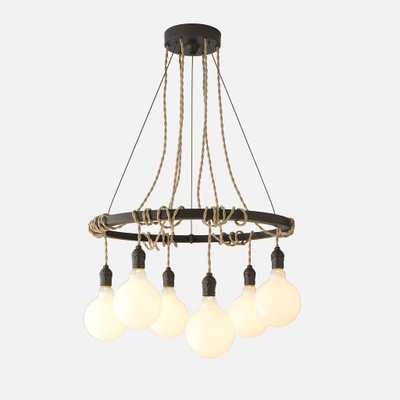 Tangled Chandelier - Antique Black - Khaki Twisted Cord - Schoolhouse Electric