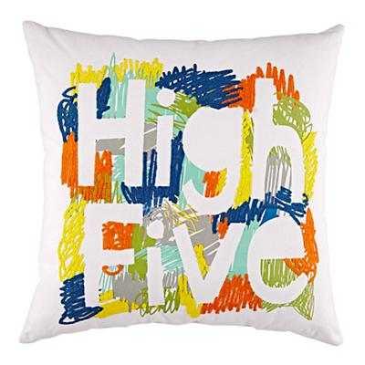 "High Five Throw Pillow (Orange) - 16""Wx16""H, fill - Land of Nod"
