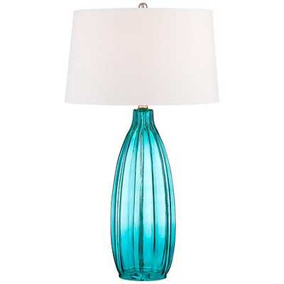 Stella Blue Fluted Glass Table Lamp - Lamps Plus