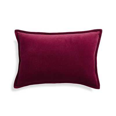 """Brenner Beet Red 18""""x12 """" Velvet Pillow with feather down insert - Crate and Barrel"""
