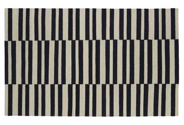 Anna Flat-Weave Rug, Black - 8' x 10' - One Kings Lane