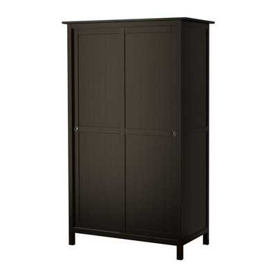 HEMNES Wardrobe with 2 sliding doors, black-brown - Ikea