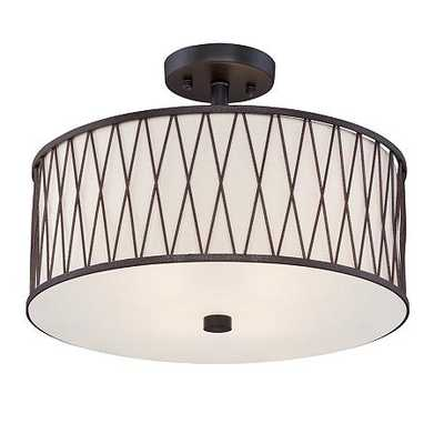 "Wade 15 1/2"" Wide Black Iron Trellis Ceiling Light - Lamps Plus"