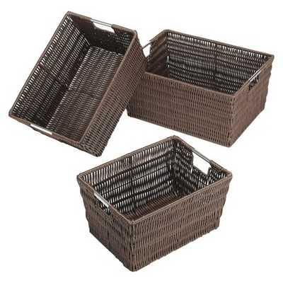 Whitmor Nesting Decorative Basket Set of 3 - Brown - Target