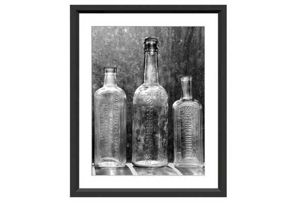 """Vintage Bottles II - 21"""" x 25"""" - Black frame without Mat - One Kings Lane"""
