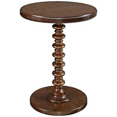 Hazelnut Spindle Round Accent Table - Lamps Plus