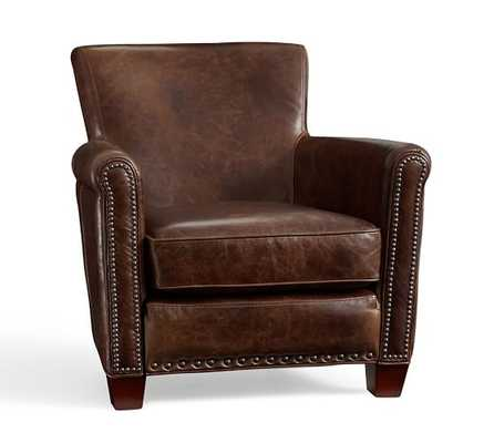 IRVING LEATHER RECLINER WITH NAILHEADS - Leather - Molasses - Pottery Barn
