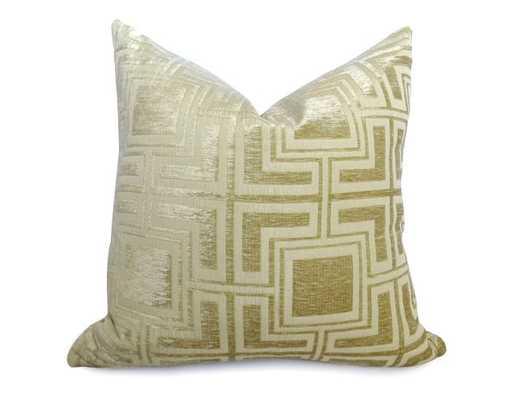 Velvet Greek Key Pillow Cover - Gold-18x18-no insert - Willa Skye