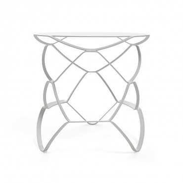 Meld white large steel side table - ABC Home and Carpet