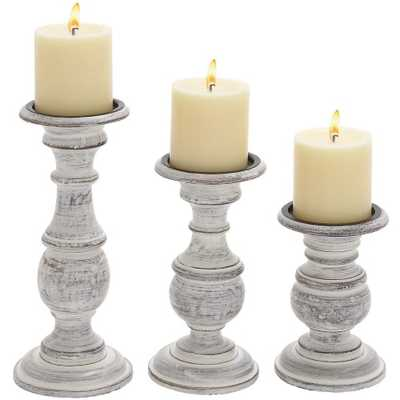 DecMode 10 in. Candle Holder - Set of 3 - Hayneedle