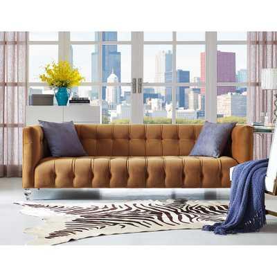 Bree Cognac Velvet Sofa - Maren Home