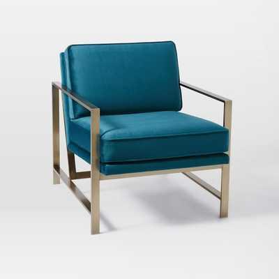 Metal Frame Upholstered Chair - Luster Velvet, Celestial Blue - West Elm