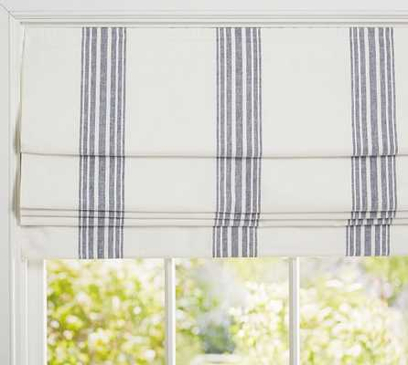 "Riviera Stripe Cordless Roman Shade - Navy - 32"" x 64'' - Pottery Barn"