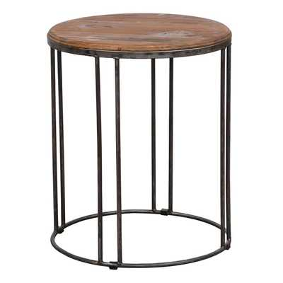 Burnham Reclaimed Wood and Iron End Table - Overstock