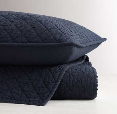 Washed Diamond-Stitched Quilt - Navy - Full/Queen - RH Baby & Child