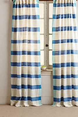 "Sanaga Stripe Curtain - Blue - 96"" x 50"" - Anthropologie"