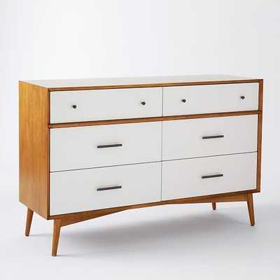 Mid-Century 6-Drawer Dresser - White + Acorn - West Elm