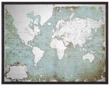 MIRRORED WORLD MAP - BLACK FRAME - Home Decorators