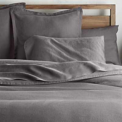 Lino II Dark Grey Linen King Duvet Cover - Crate and Barrel