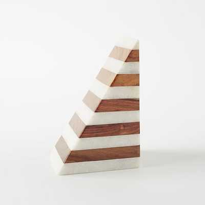 Striped Marble + Wood Bookend - West Elm