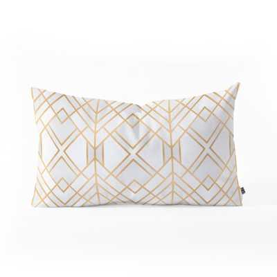 "GOLDEN GEO Oblong Throw Pillow -  23"" x 14"" - with insert - Wander Print Co."