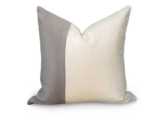 "Velvet Colorblock Pillow Cover - Gray and White - 22"" - No Insert - Willa Skye"