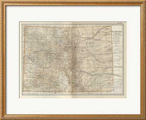 """MAP OF COLORADO - 32"""" x 24"""" - PARMA Gold Frame - With mat - art.com"""