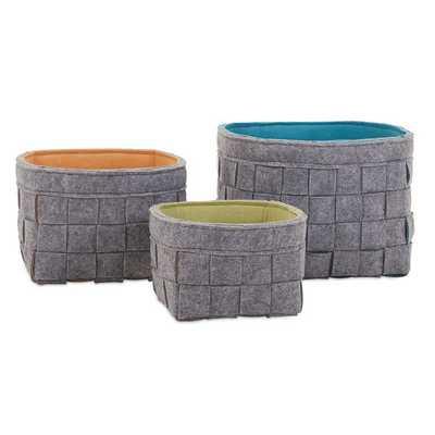 Meagan 3 Piece Felt Basket Set - Wayfair