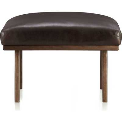 Cavett Leather Ottoman [fabric : Libby] - Crate and Barrel