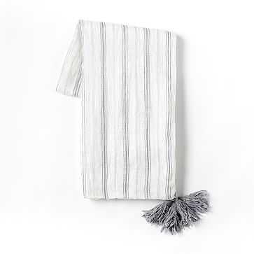 Stripe Linen Throw, Ivory - West Elm