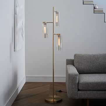 Glass Cylinder Floor Lamp, Antique Brass/Champagne Luster - West Elm
