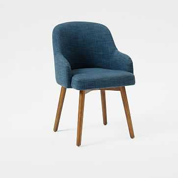 Saddle Dining Chairs, Set of 4, Linen Weave, Regal Blue - West Elm
