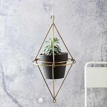 "Hanging Wire Pot Bracket-Plated Brass + Black Chalkboard Pot 6"" - West Elm"