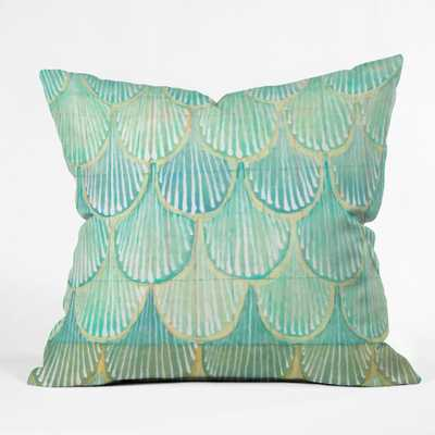 """Turquoise Scallops - 16"""" x 16"""" - Polyester Insert - Wander Print Co."""