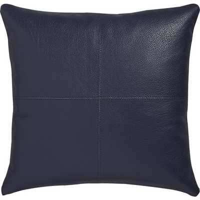 """Mac leather 16"""" pillow with feather-down insert - CB2"""