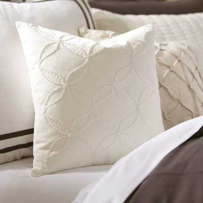 Edith Embroidered Pillow Cover - White - Insert sold separately - Birch Lane