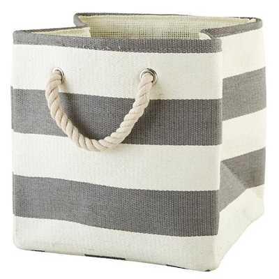 Stripes Around the Cube Bin (Grey) - Land of Nod